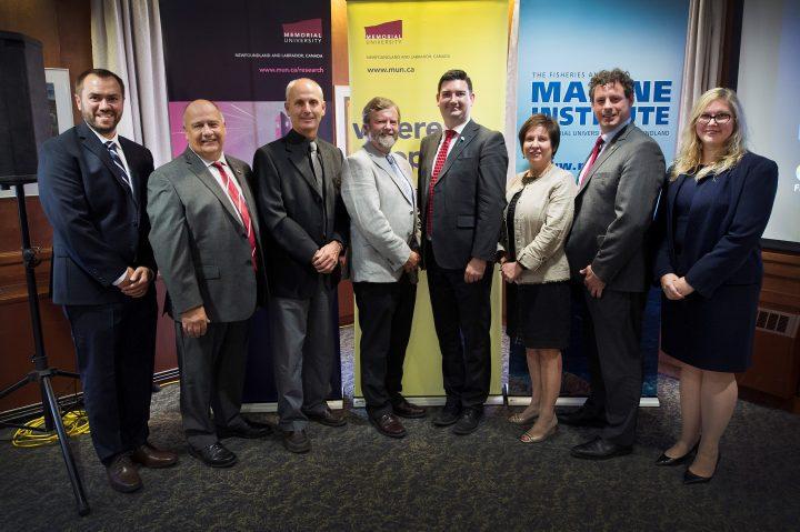 Group Photo: Carey Bonnell, President Kachanoski, Dr. Mark Abrahams, Dr. Paul Snelgrove, Christopher Mitchelmore, Iris Petten, Nick Whalen and Marlies Rise